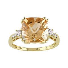 Genuine Citrine, Lab-Created White Sapphire and Diamond-Accent Ring