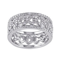 1/8 CT. T.W. Diamond Sterling Silver 3-pc. Ring Set