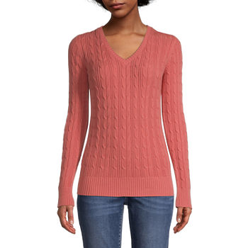 St. John's Bay-Tall Cable Womens V Neck Long Sleeve Pullover Sweater