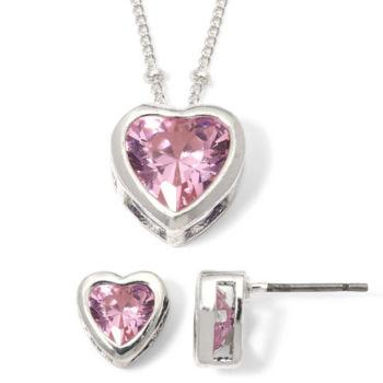Mixit Purple Heart Cubic Zirconia Pendant Necklace & Earring Set