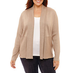 Liz Claiborne Long Sleeve Ribbed Cardigan-Plus