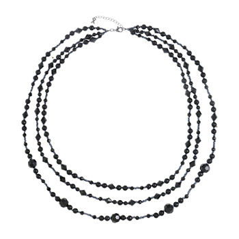 Mixit Black 31 Inch Cable Beaded Necklace