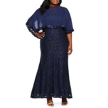 Blu Sage Sleeveless Sequin Gown with Popover - Plus