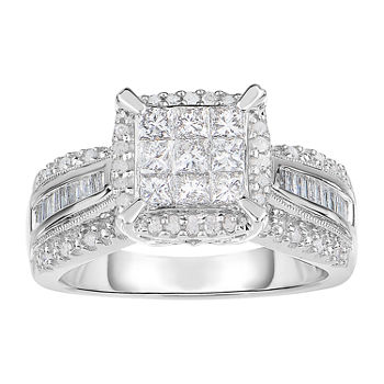 1 CT. T.W. Genuine Diamond 10K White Gold Princess-Cut Multi-Top Ring