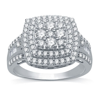 Womens 1 CT. T.W. Genuine Diamond Sterling Silver Cocktail Ring