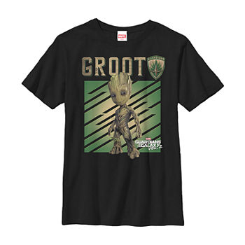 Marvel Guardians Vol. 2 Baby Groot Shield Little & Big Boys Slim Crew Neck Marvel Short Sleeve Graphic T-Shirt