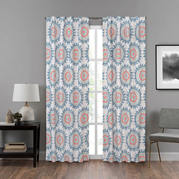 Eclipse Summit Medallion Energy Saving Blackout Back-Tab Single Curtain Panel