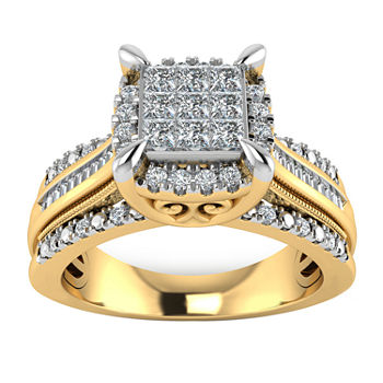 Womens 1/2 CT. T.W. Genuine Diamond 10K Gold Engagement Ring