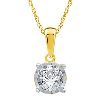 Womens 1/2 CT. T.W. Genuine White Diamond 10K Gold Pendant