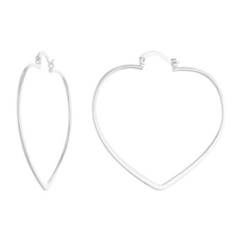Silver Reflections Pure Silver Over Brass Heart Hoop Earrings