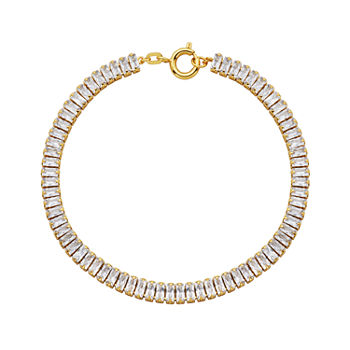 DiamonArt® Cubic Zirconia 18K Gold Over Silver Tennis Bracelet