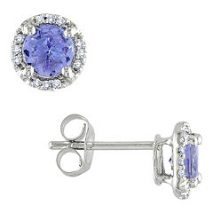 Tanzanite & Diamond-Accent Earrings 10K White Gold
