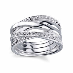 Sterling Silver Crystal Band Ring
