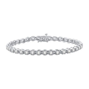 3 CT. T.W. Genuine White Diamond 10K Gold Tennis Bracelet
