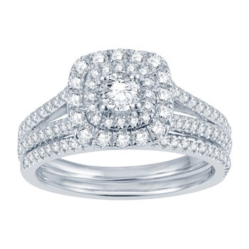 Modern Bride® Signature 1 CT. T.W. Genuine Diamond 14K White Gold Bridal Ring Set