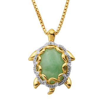 Jade Turtle Pendant Necklace 14K/Sterling Silver
