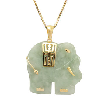 Genuine Jade Elephant Pendant Necklace 14K/Sterling Silver