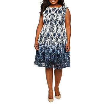 Danny & Nicole Sleeveless Medallion Fit & Flare Dress - Plus