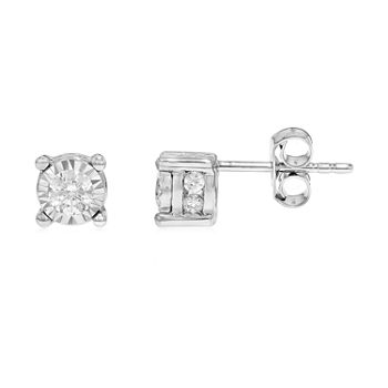TruMiracle 1/2 CT. T.W. Genuine Diamond 10K White Gold Twist Stud Earrings