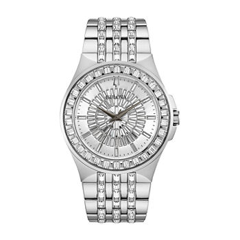 Bulova Phantom Mens Crystal Accent Silver Tone Stainless Steel Bracelet Watch - 96a236