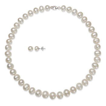 0ccbe37df Cultured Freshwater Pearl Necklace and Earring Set in Sterling Silver