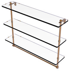 Allied Brass 22 IN Triple Tiered Glass Shelf WithIntegrated Towel Bar