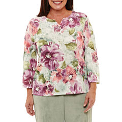 Alfred Dunner Winter Garden Floral Pullover Sweater-Plus