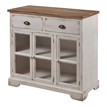 Shabby Chic 3 Door and 2 Drawer Accent Cabinet