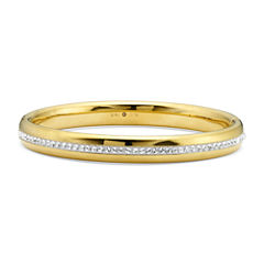Gold Opulence 14K Gold Over Diamond Resin Crystal Bangle Bracelet