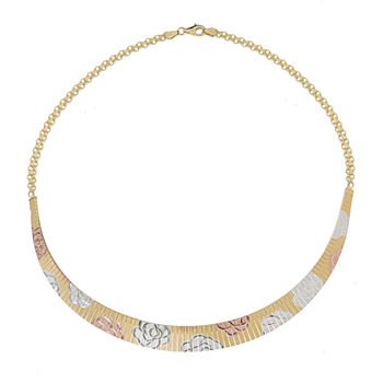 Made in Italy Womens 14K Tri-Color Gold Over Silver Collar Necklace