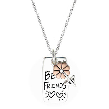 Footnotes Friends Sterling Silver 18 Inch Cable Flower Pendant Necklace