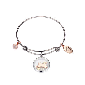 Footnotes Pet Clear Pure Silver Over Brass Stainless Steel Round Bangle Bracelet