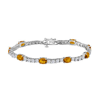 Genuine Yellow Citrine Pure Silver Over Brass 7.5 Inch Tennis Bracelet