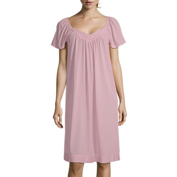 Lissome Tricot Womens Nightgown Short Sleeve Sweetheart Neck