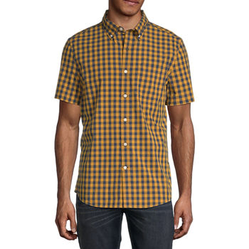 St. John's Bay No Tuck Stretch Mens Short Sleeve Gingham Button-Down Shirt