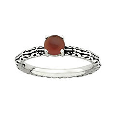 Personally Stackable Antiqued Red Agate Ring