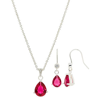 Sparkle Allure Holiday Light Up Box 2-pc. Cubic Zirconia Pure Silver Over Brass Siam Pear Jewelry Set