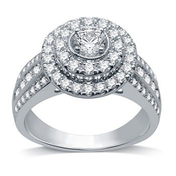 LIMITED EDITION! Womens 1 1/4 CT. T.W. Genuine White Diamond 10K White Gold Round Halo Engagement Ring