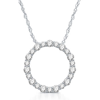Womens 1 CT. T.W. Genuine White Diamond Sterling Silver Pendant Necklace