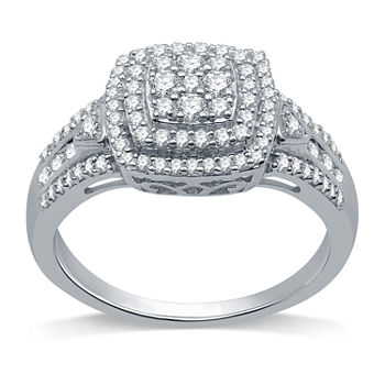Womens 1/2 CT. T.W. Genuine Diamond Sterling Silver Cocktail Ring