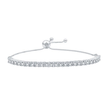 1/2 CT. T.W. Genuine White Diamond Sterling Silver Round Bolo Bracelet