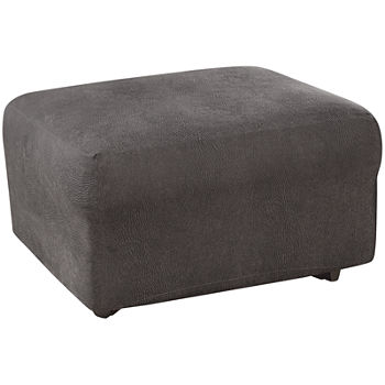 Fantastic Sure Fit Ultimate Stretch Faux Leather 1 Pc Ottoman Slipcover Ncnpc Chair Design For Home Ncnpcorg