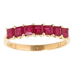 LIMITED QUANTITIES! Red Lead Glass-Filled Ruby 10K Gold Band