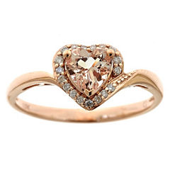 Womens 1/10 CT. T.W. Pink 10K Gold Cocktail Ring