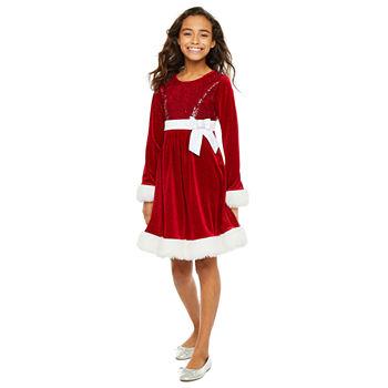 Bonnie Jean Girls Long Sleeve A-Line Dress