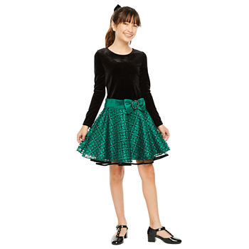 Bonnie Jean Girls Long Sleeve Drop Waist Dress
