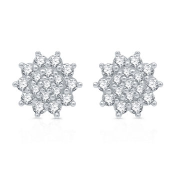 1 CT. T.W. Genuine White Diamond Sterling Silver Star Stud Earrings