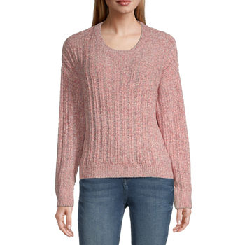 Almost Famous-Juniors Womens Round Neck Long Sleeve Pullover Sweater