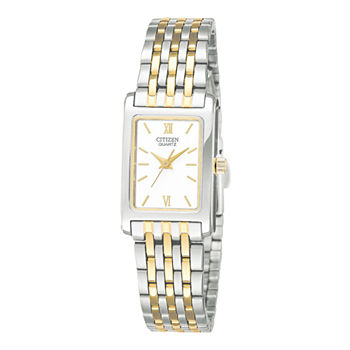 Citizen® Womens Rectangular Two-Tone Stainless Steel Bracelet Watch EJ5854-56A