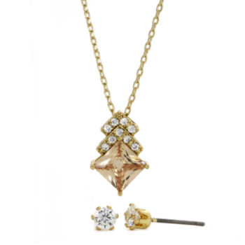 Sparkle Allure Sparkle Allure Champagne and White Cubic Zirconia Stud Earring and Necklace Set
